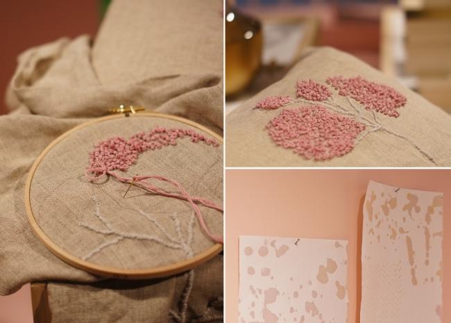 gestickte Blume rosa