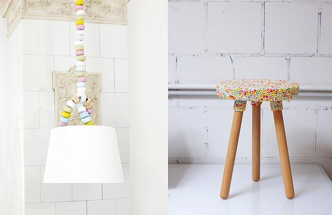 Leuchte und Hocker von Candy Company | Foto links: Candy Company; Foto rechts: Sabine Wittig