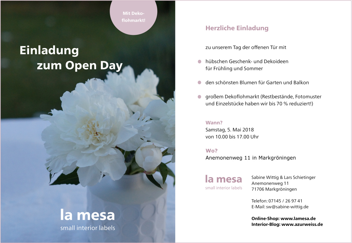 Einladung zum la mesa Open Day im Mai 2018