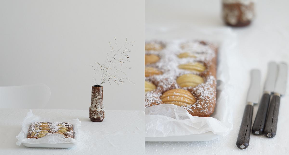 Rezept für Birnen-Schoko-Kuchen auf azurweiss   Fotos: Sabine Wittig