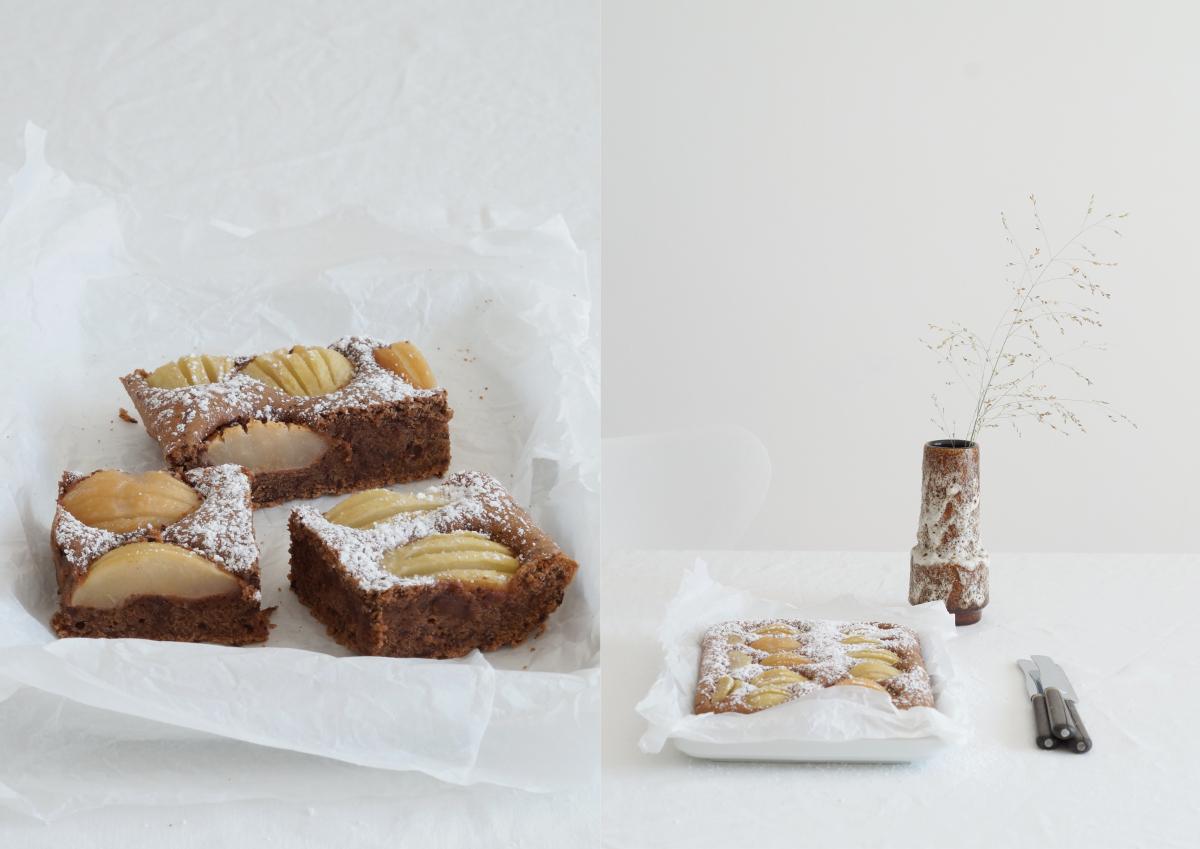 Rezept für Birnen-Schoko-Kuchen auf azurweiss | Fotos: Sabine Wittig