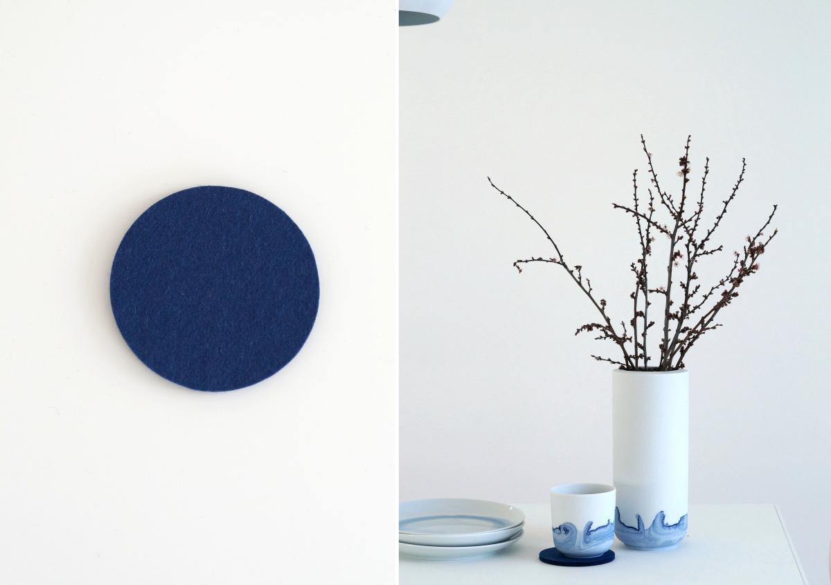 Untersetzer aus 100 % Schurwolle und Porzellan von Anna Badur. | Fotos: Sabine Wittig