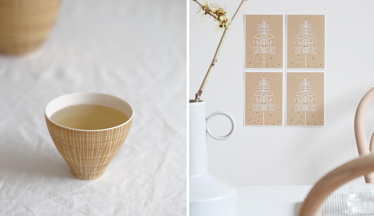Porzellanbecher von Anna Sykora und Postkarten von Jurianne Matter. | Fotos: Sabine Wittig und Jurianne Matter